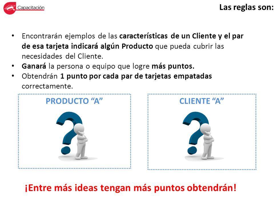 Las reglas son: Encontrarán ejemplos de las características de un Cliente y el par de esa tarjeta indicará algún Producto que pueda cubrir las necesid