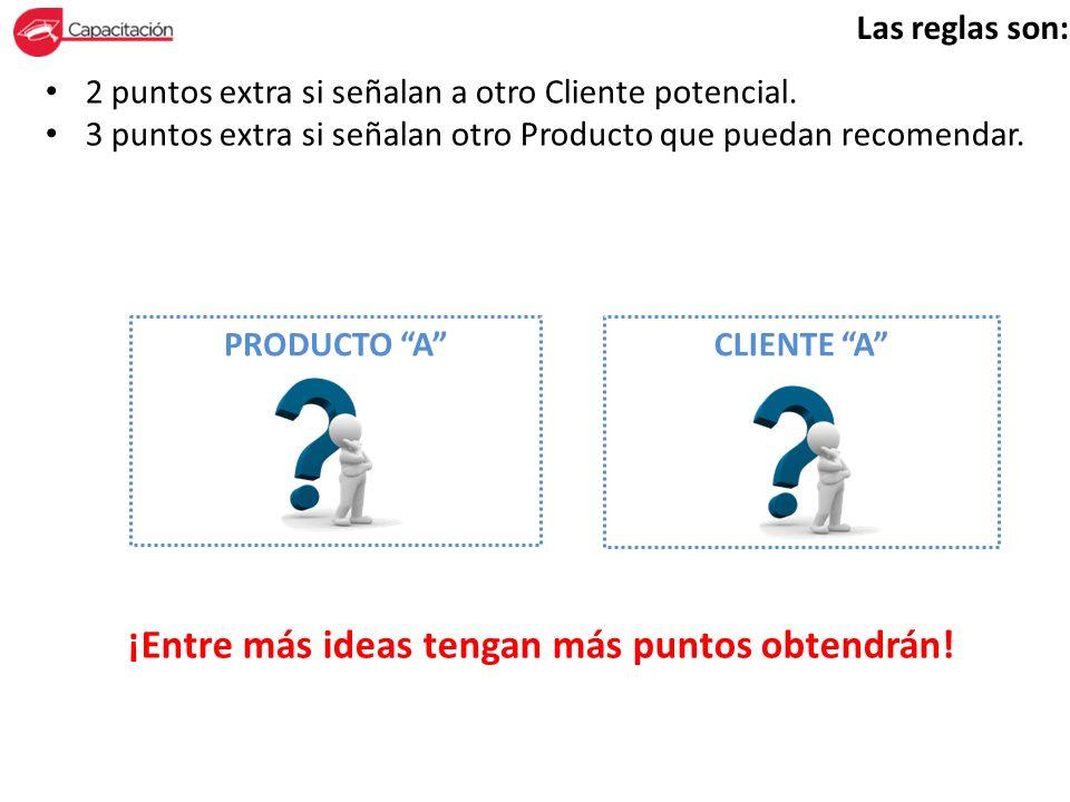Las reglas son: 2 puntos extra si señalan a otro Cliente potencial. 3 puntos extra si señalan otro Producto que puedan recomendar. ¡Entre más ideas te
