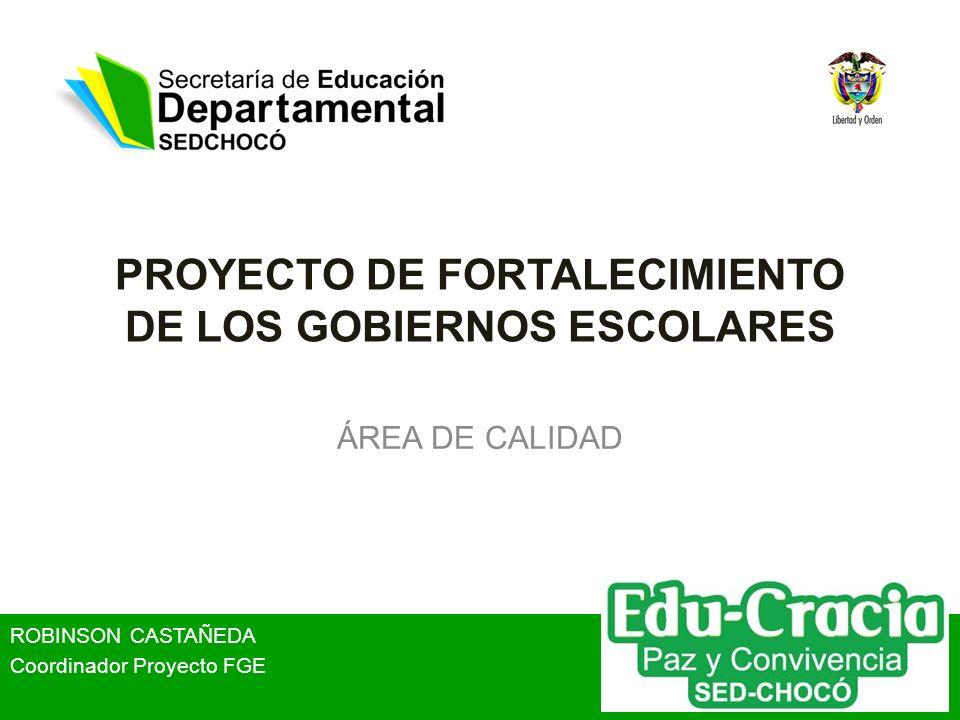 PROYECTO DE FORTALECIMIENTO DE LOS GOBIERNOS ESCOLARES ÁREA DE CALIDAD ROBINSON CASTAÑEDA Coordinador Proyecto FGE