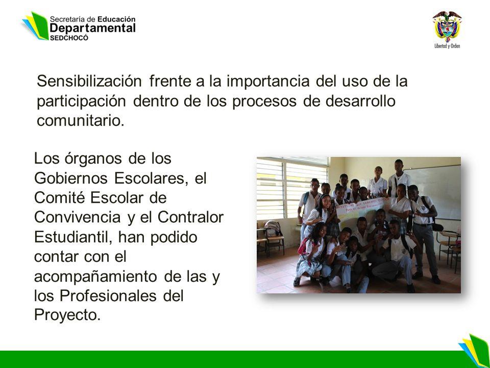 Sensibilización frente a la importancia del uso de la participación dentro de los procesos de desarrollo comunitario. Los órganos de los Gobiernos Esc