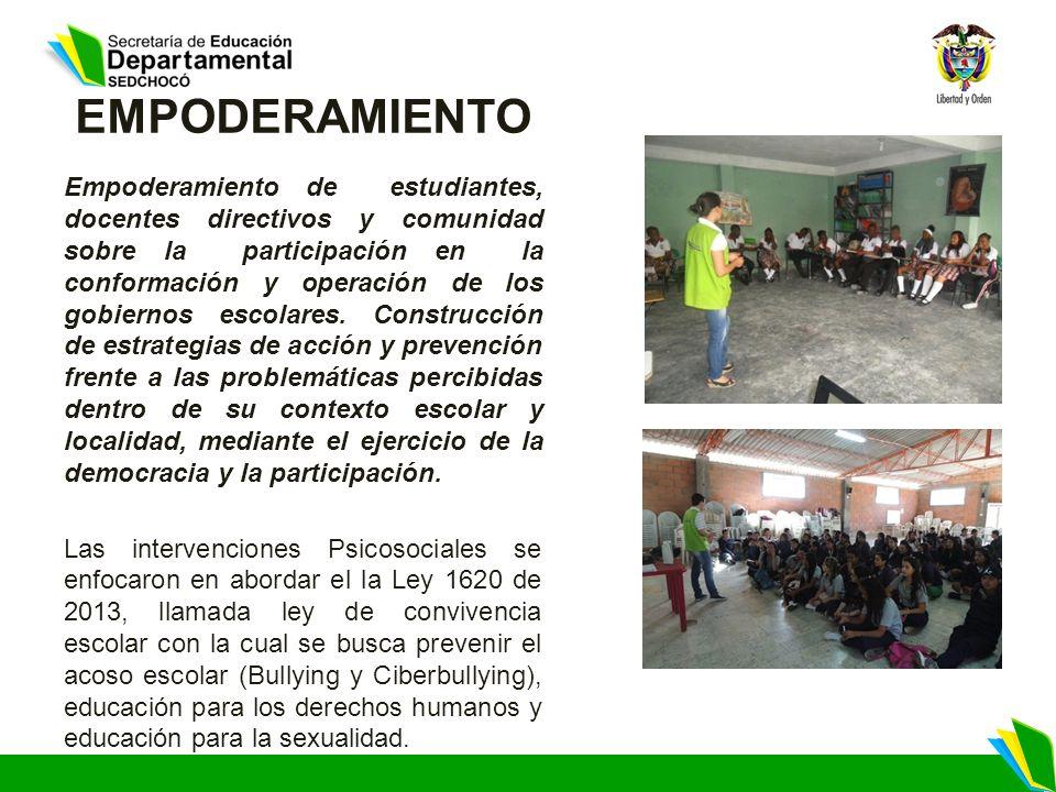 EMPODERAMIENTO Empoderamiento de estudiantes, docentes directivos y comunidad sobre la participación en la conformación y operación de los gobiernos e