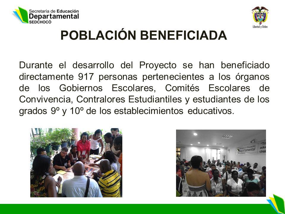 POBLACIÓN BENEFICIADA Durante el desarrollo del Proyecto se han beneficiado directamente 917 personas pertenecientes a los órganos de los Gobiernos Es