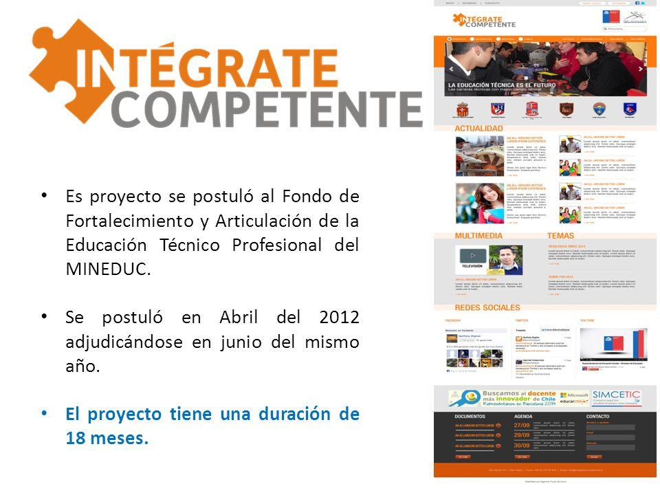 Es proyecto se postuló al Fondo de Fortalecimiento y Articulación de la Educación Técnico Profesional del MINEDUC.
