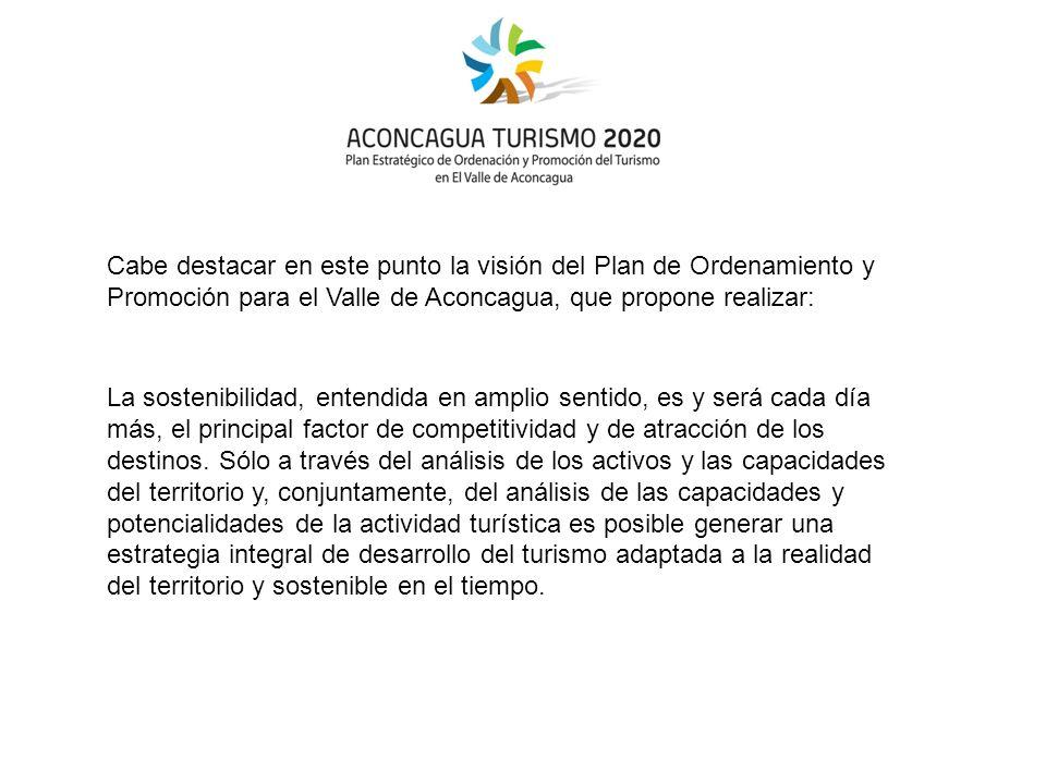 Cabe destacar en este punto la visión del Plan de Ordenamiento y Promoción para el Valle de Aconcagua, que propone realizar: La sostenibilidad, entendida en amplio sentido, es y será cada día más, el principal factor de competitividad y de atracción de los destinos.