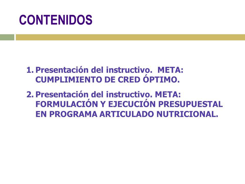 1.Presentación del instructivo.META: CUMPLIMIENTO DE CRED ÓPTIMO.