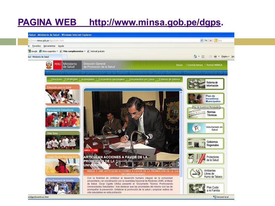 PAGINA WEB http://www.minsa.gob.pe/dgpsPAGINA WEB http://www.minsa.gob.pe/dgps.