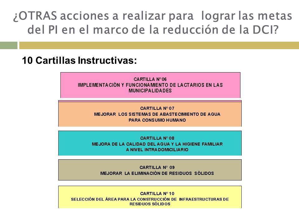 10 Cartillas Instructivas: ¿OTRAS acciones a realizar para lograr las metas del PI en el marco de la reducción de la DCI?