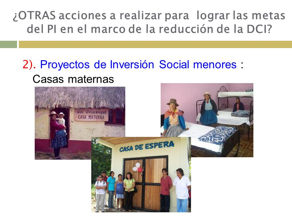 2). Proyectos de Inversión Social menores : Casas maternas ¿OTRAS acciones a realizar para lograr las metas del PI en el marco de la reducción de la D