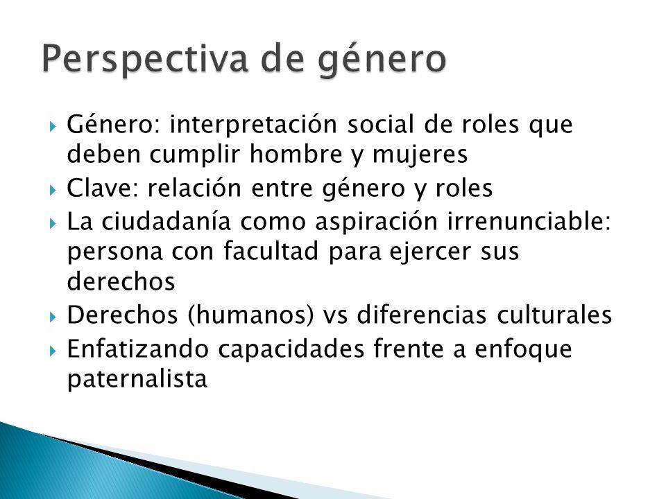 Género: interpretación social de roles que deben cumplir hombre y mujeres Clave: relación entre género y roles La ciudadanía como aspiración irrenunci
