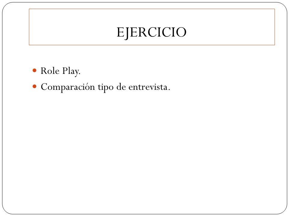EJERCICIO Role Play. Comparación tipo de entrevista.