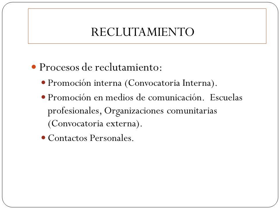 RECLUTAMIENTO Procesos de reclutamiento: Promoción interna (Convocatoria Interna). Promoción en medios de comunicación. Escuelas profesionales, Organi