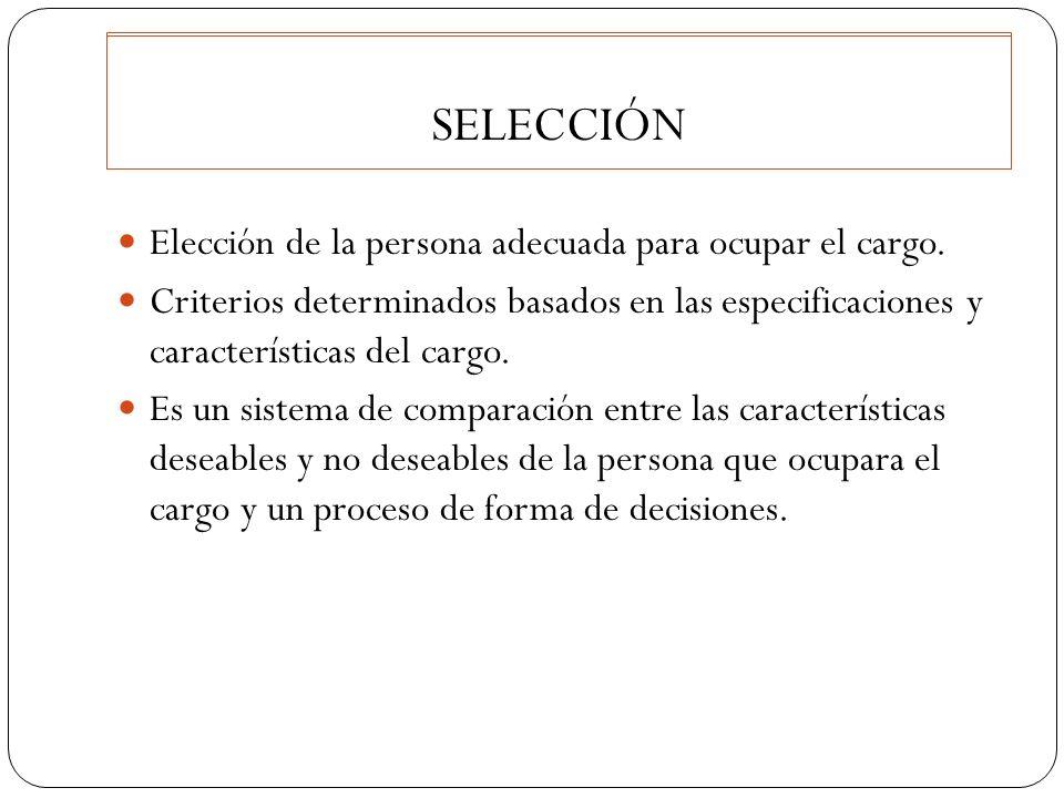 SELECCIÓN Elección de la persona adecuada para ocupar el cargo. Criterios determinados basados en las especificaciones y características del cargo. Es