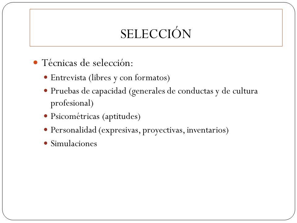 Técnicas de selección: Entrevista (libres y con formatos) Pruebas de capacidad (generales de conductas y de cultura profesional) Psicométricas (aptitu
