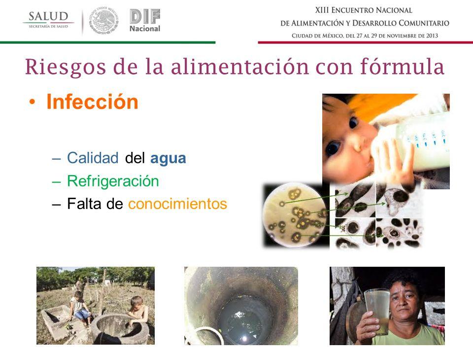 Infección –Calidad del agua –Refrigeración –Falta de conocimientos Riesgos de la alimentación con fórmula