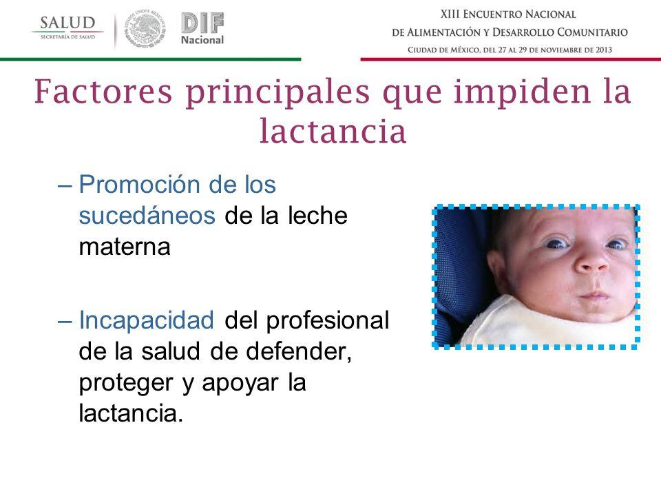 –Promoción de los sucedáneos de la leche materna –Incapacidad del profesional de la salud de defender, proteger y apoyar la lactancia.
