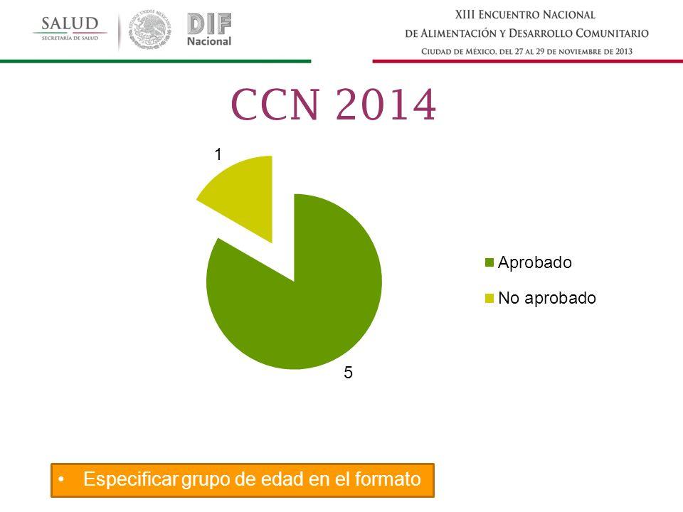 Especificar grupo de edad en el formato CCN 2014