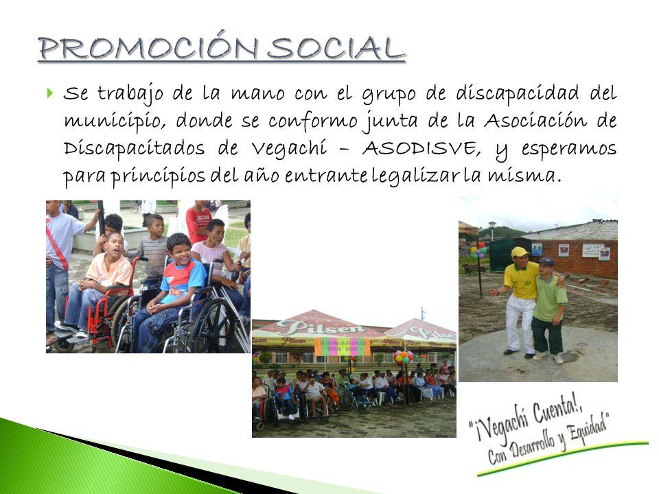 Se trabajo de la mano con el grupo de discapacidad del municipio, donde se conformo junta de la Asociación de Discapacitados de Vegachí – ASODISVE, y esperamos para principios del año entrante legalizar la misma.