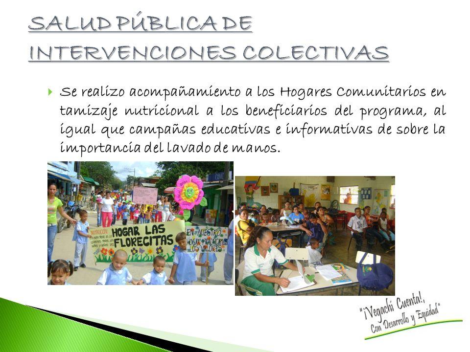 Se realizo acompañamiento a los Hogares Comunitarios en tamizaje nutricional a los beneficiarios del programa, al igual que campañas educativas e informativas de sobre la importancia del lavado de manos.