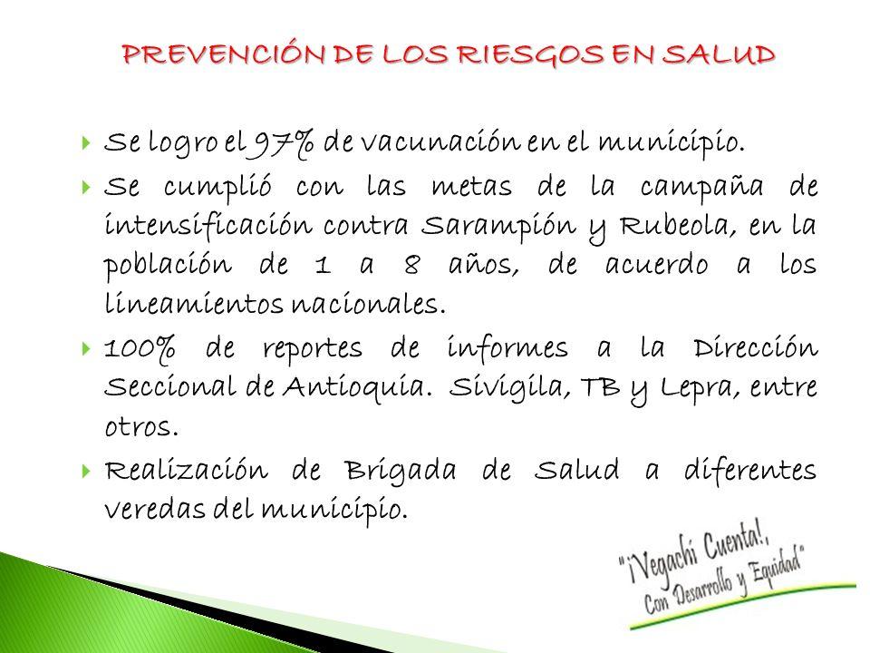PREVENCIÓN DE LOS RIESGOS EN SALUD Se logro el 97% de vacunación en el municipio. Se cumplió con las metas de la campaña de intensificación contra Sar