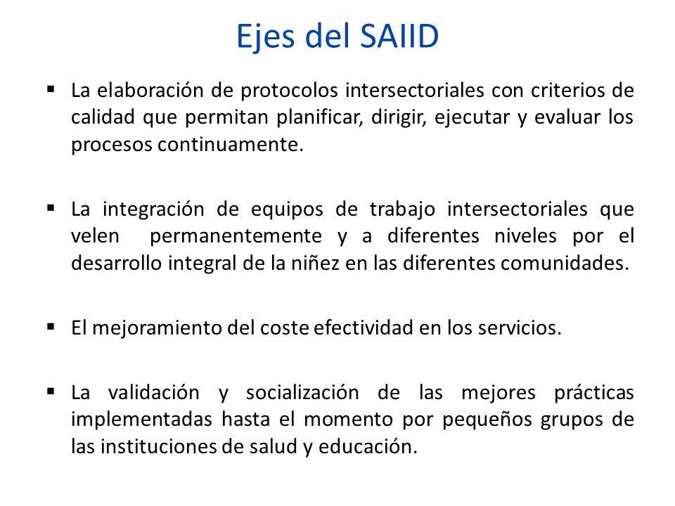 Ejes del SAIID La elaboración de protocolos intersectoriales con criterios de calidad que permitan planificar, dirigir, ejecutar y evaluar los proceso