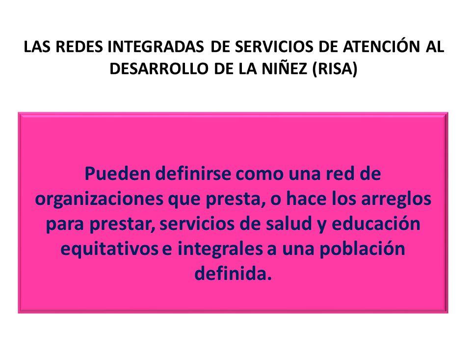 LAS REDES INTEGRADAS DE SERVICIOS DE ATENCIÓN AL DESARROLLO DE LA NIÑEZ (RISA) Pueden definirse como una red de organizaciones que presta, o hace los