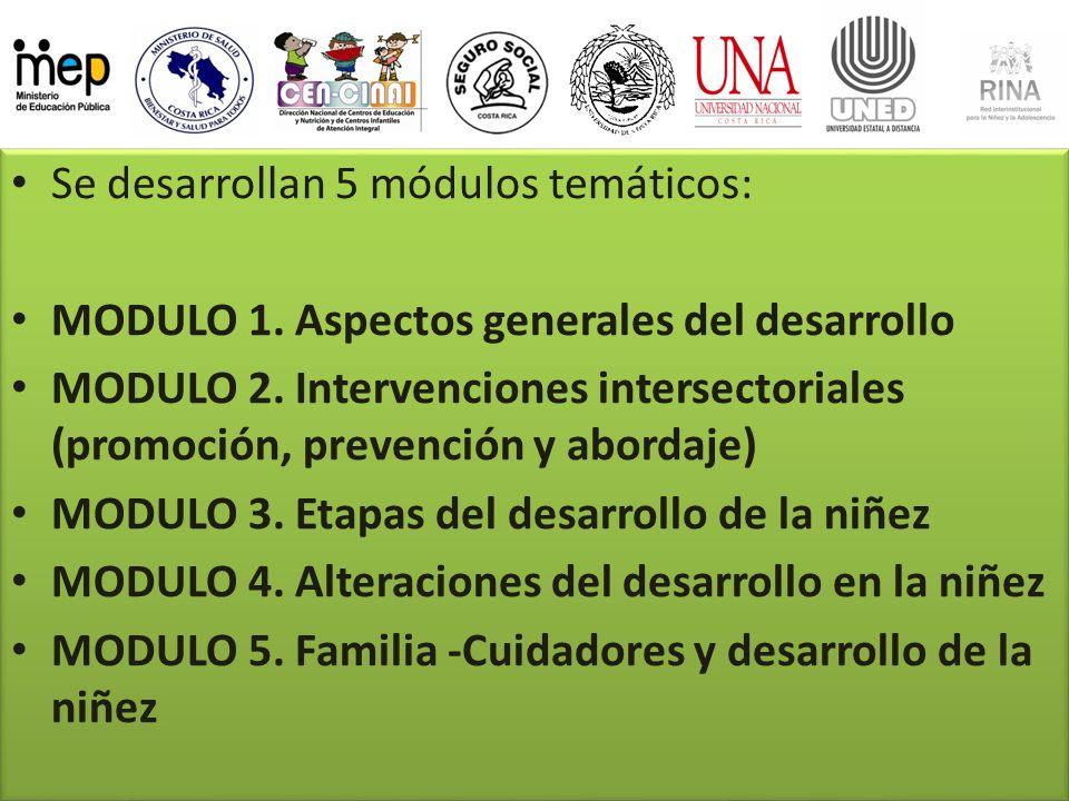 Se desarrollan 5 módulos temáticos: MODULO 1. Aspectos generales del desarrollo MODULO 2. Intervenciones intersectoriales (promoción, prevención y abo