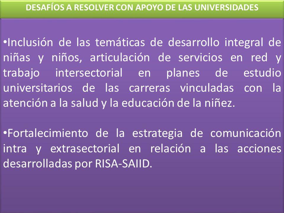 Inclusión de las temáticas de desarrollo integral de niñas y niños, articulación de servicios en red y trabajo intersectorial en planes de estudio uni
