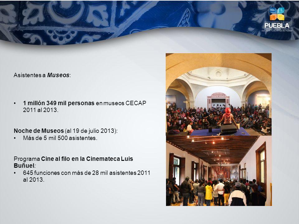 Asistentes a Museos: 1 millón 349 mil personas en museos CECAP 2011 al 2013. Noche de Museos (al 19 de julio 2013): Más de 5 mil 500 asistentes. Progr