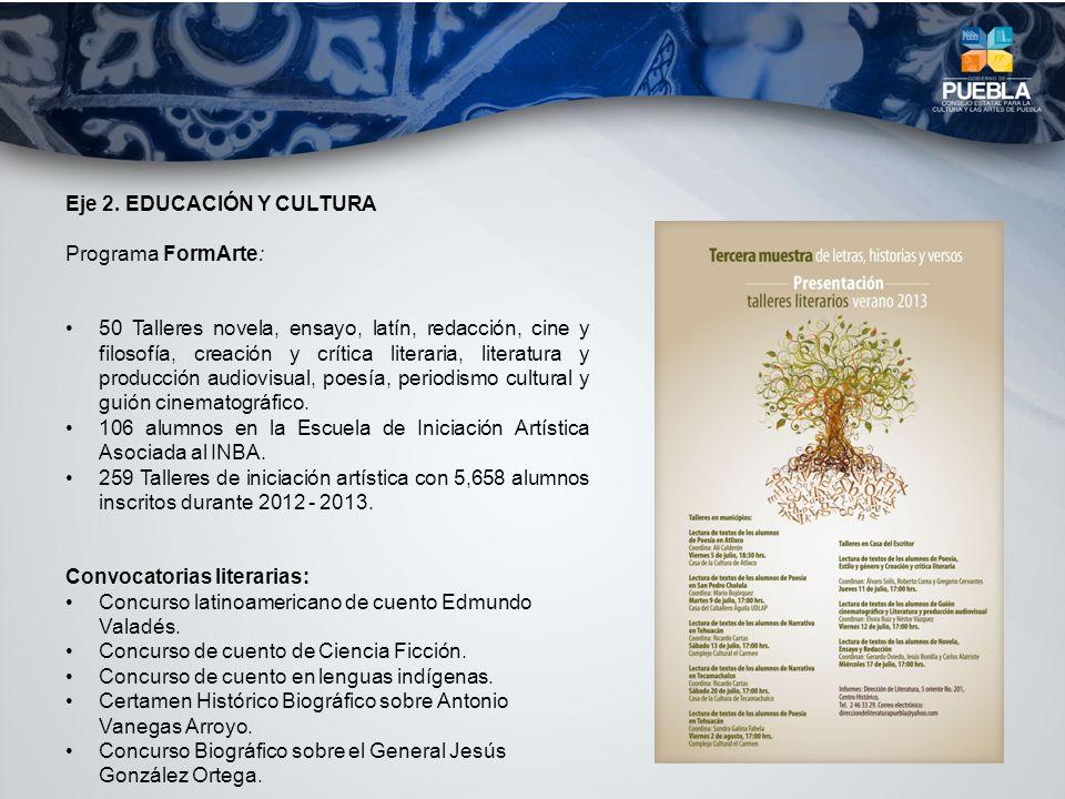 Eje 2. EDUCACIÓN Y CULTURA Programa FormArte: 50 Talleres novela, ensayo, latín, redacción, cine y filosofía, creación y crítica literaria, literatura