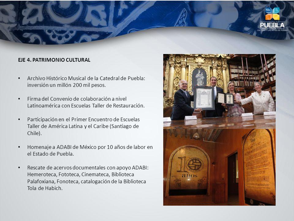 EJE 4. PATRIMONIO CULTURAL Archivo Histórico Musical de la Catedral de Puebla: inversión un millón 200 mil pesos. Firma del Convenio de colaboración a