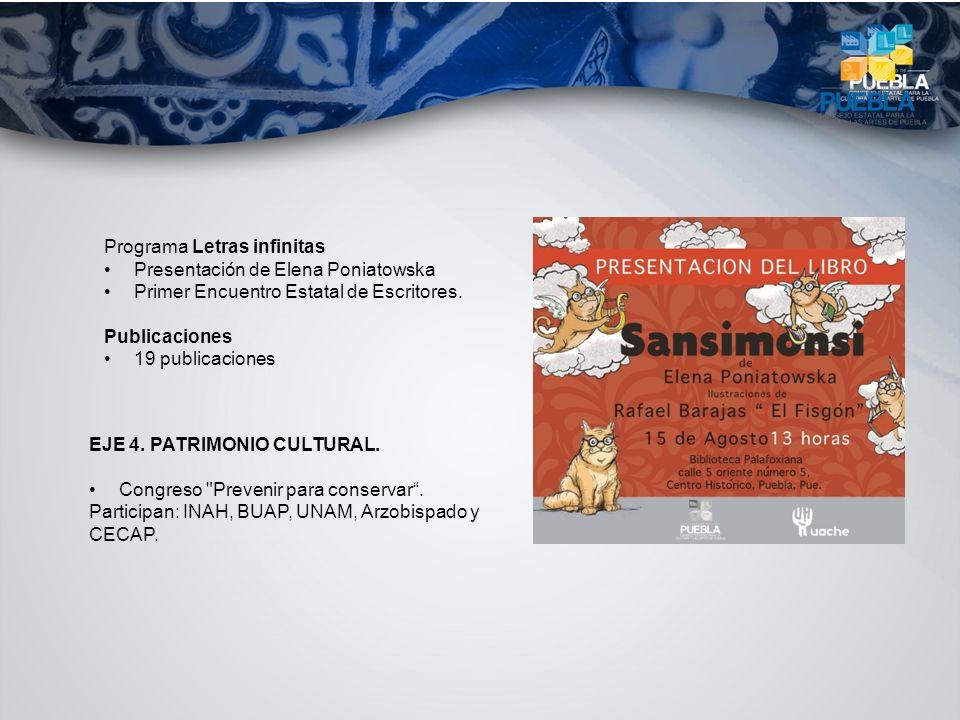 Programa Letras infinitas Presentación de Elena Poniatowska Primer Encuentro Estatal de Escritores. Publicaciones 19 publicaciones EJE 4. PATRIMONIO C