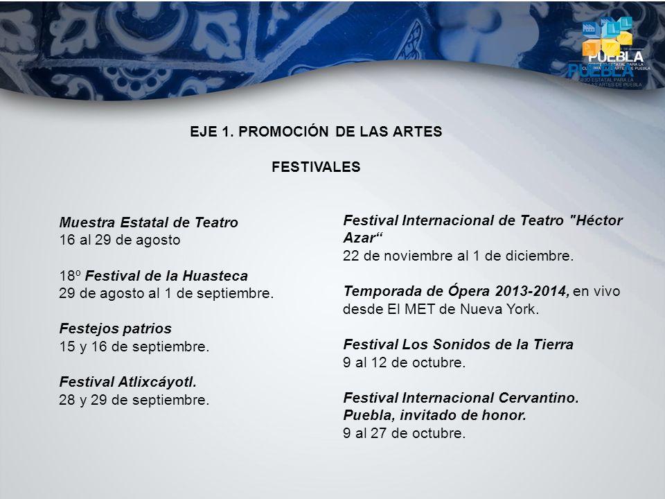 Muestra Estatal de Teatro 16 al 29 de agosto 18º Festival de la Huasteca 29 de agosto al 1 de septiembre. Festejos patrios 15 y 16 de septiembre. Fest