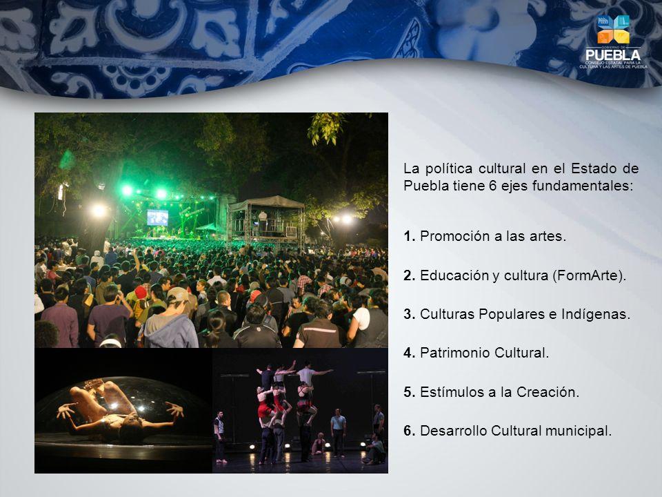 1. Promoción a las artes. 2. Educación y cultura (FormArte). 3. Culturas Populares e Indígenas. 4. Patrimonio Cultural. 5. Estímulos a la Creación. 6.