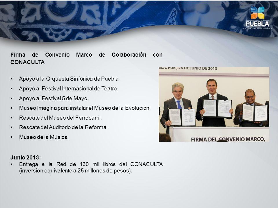 Firma de Convenio Marco de Colaboración con CONACULTA Apoyo a la Orquesta Sinfónica de Puebla. Apoyo al Festival Internacional de Teatro. Apoyo al Fes