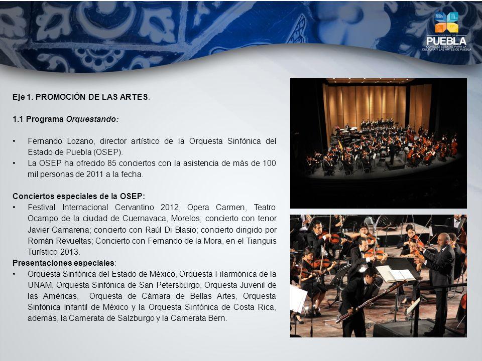 Eje 1. PROMOCIÓN DE LAS ARTES. 1.1 Programa Orquestando: Fernando Lozano, director artístico de la Orquesta Sinfónica del Estado de Puebla (OSEP). La