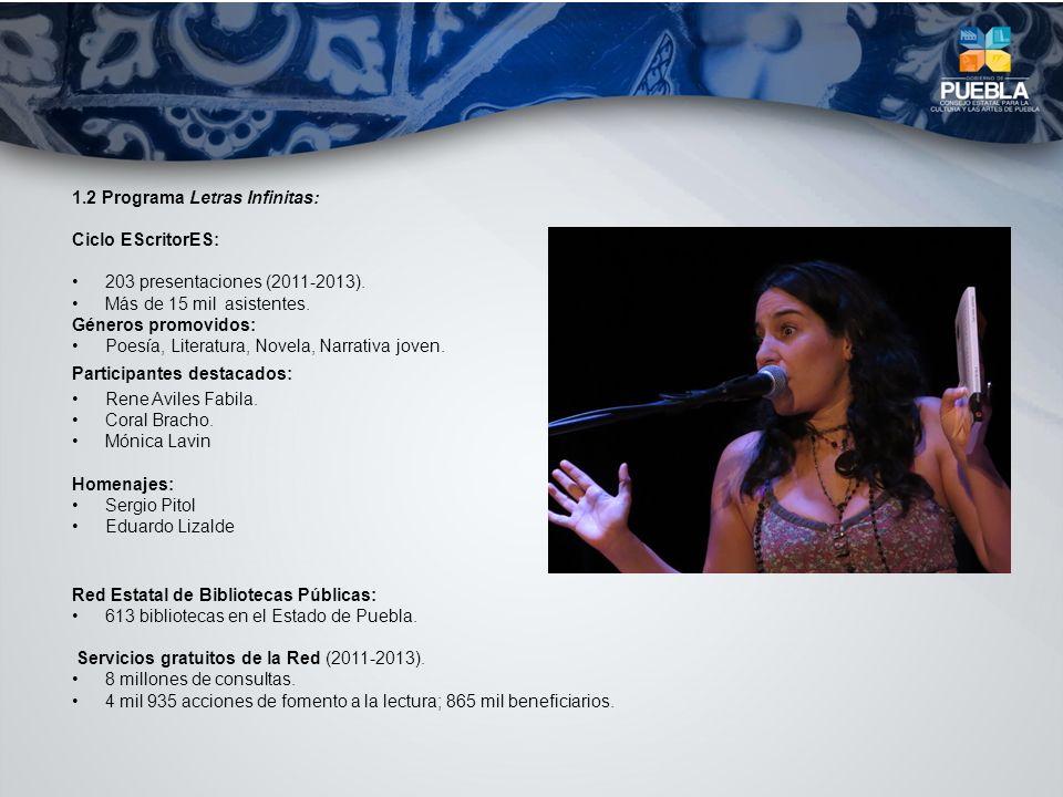 1.2 Programa Letras Infinitas: Ciclo EScritorES: 203 presentaciones (2011-2013). Más de 15 mil asistentes. Géneros promovidos: Poesía, Literatura, Nov