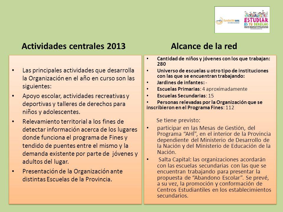 Actividades centrales 2013 Las principales actividades que desarrolla la Organización en el año en curso son las siguientes: Apoyo escolar, actividades recreativas y deportivas y talleres de derechos para niños y adolescentes.
