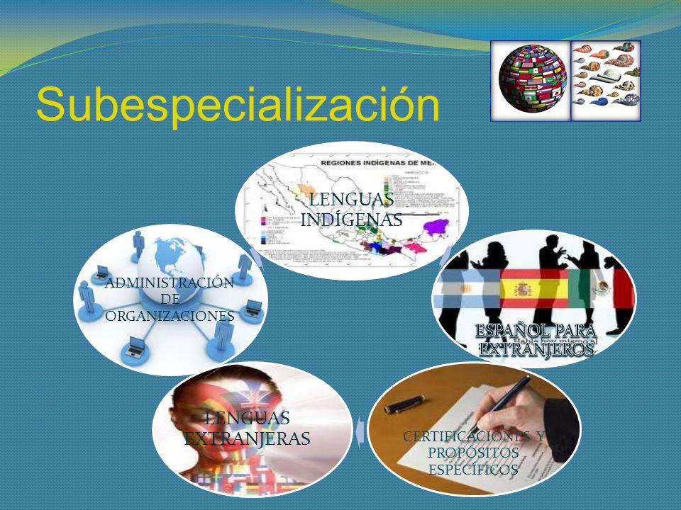 Subespecialización LENGUAS INDÍGENAS CERTIFICACIONES Y PROPÓSITOS ESPECÍFICOS LENGUAS EXTRANJERAS ADMINISTRACIÓN DE ORGANIZACIONES