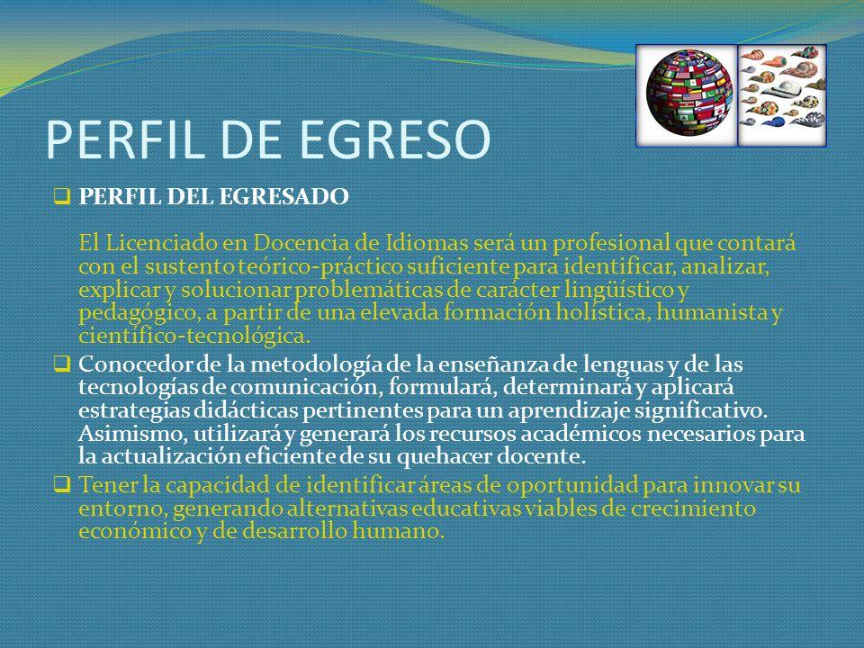 PERFIL DE EGRESO PERFIL DEL EGRESADO El Licenciado en Docencia de Idiomas será un profesional que contará con el sustento teórico-práctico suficiente