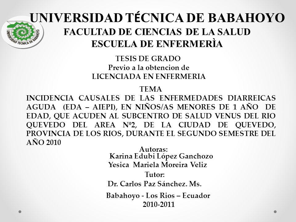 OBJETIVOS Determinar las causales de las enfermedades diarreicas aguda (EDA – AIEPI), en niños/as menores de 1 año de edad, que acuden al Subcentro de Salud Venus del Rio Quevedo del área Nº2, de la ciudad de Quevedo, Provincia de Los Ríos, durante el segundo semestre del año 2010.
