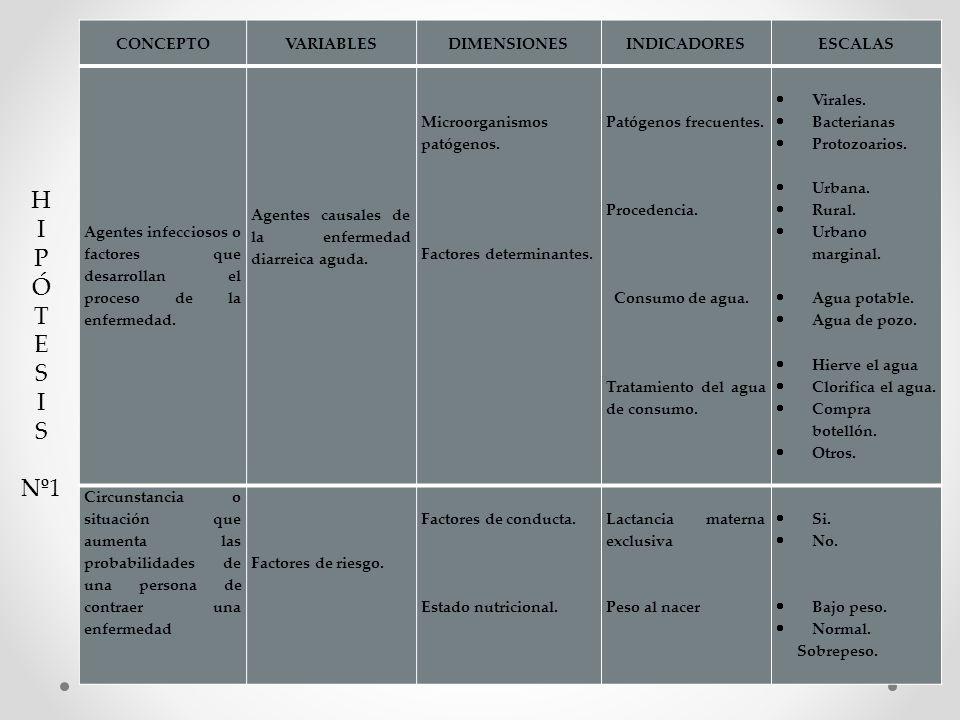 CONCEPTOVARIABLESDIMENSIONESINDICADORESESCALAS Agentes infecciosos o factores que desarrollan el proceso de la enfermedad. Agentes causales de la enfe
