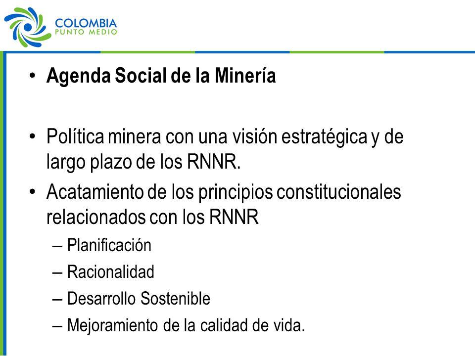 Agenda Social de la Minería Política minera con una visión estratégica y de largo plazo de los RNNR.