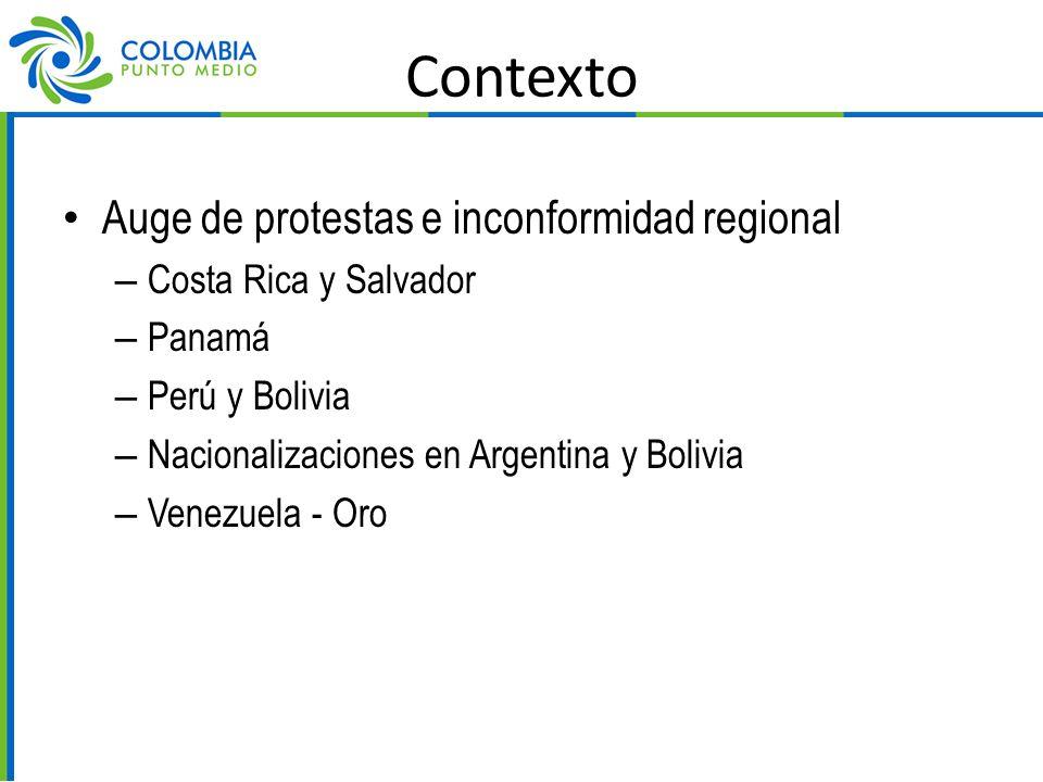 Contexto Auge de protestas e inconformidad regional – Costa Rica y Salvador – Panamá – Perú y Bolivia – Nacionalizaciones en Argentina y Bolivia – Venezuela - Oro