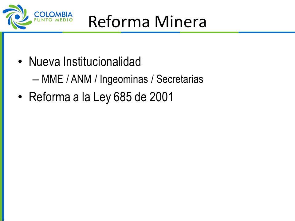 Reforma Minera Nueva Institucionalidad – MME / ANM / Ingeominas / Secretarias Reforma a la Ley 685 de 2001