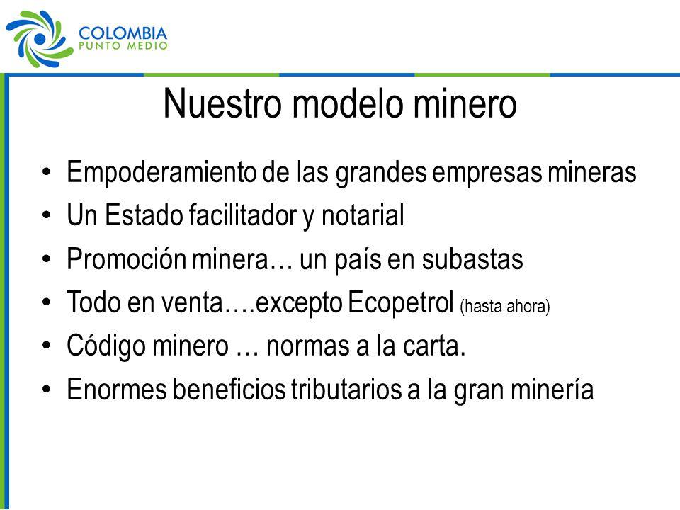 Nuestro modelo minero Empoderamiento de las grandes empresas mineras Un Estado facilitador y notarial Promoción minera… un país en subastas Todo en venta….excepto Ecopetrol (hasta ahora) Código minero … normas a la carta.