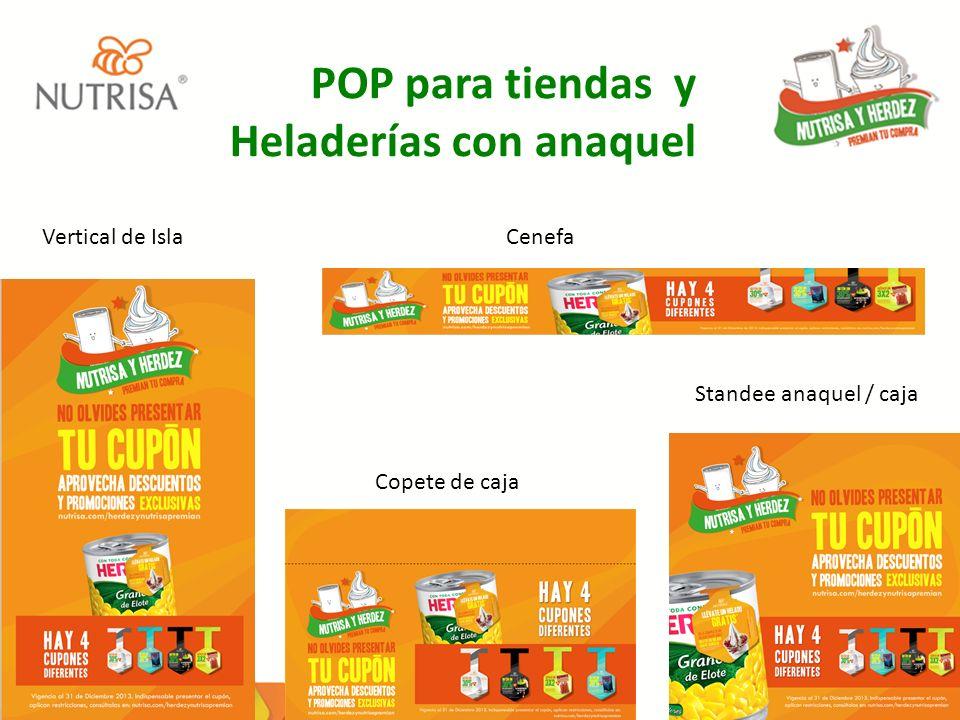 POP para tiendas y Heladerías con anaquel Vertical de IslaCenefa Copete de caja Standee anaquel / caja