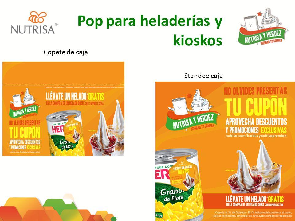 Pop para heladerías y kioskos Copete de caja Standee caja
