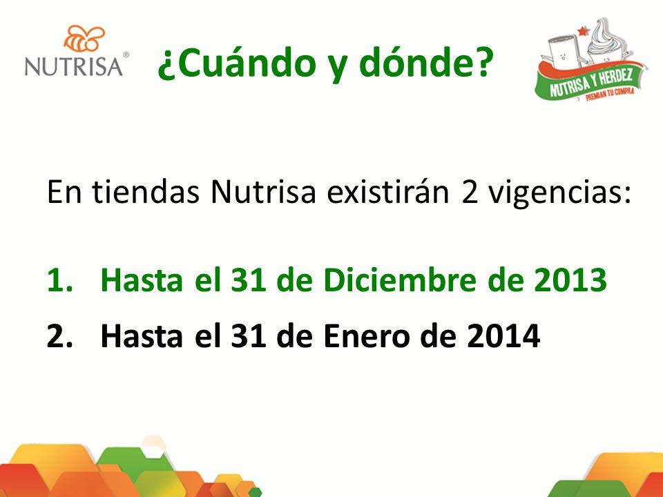 ¿Cuándo y dónde? En tiendas Nutrisa existirán 2 vigencias: 1.Hasta el 31 de Diciembre de 2013 2.Hasta el 31 de Enero de 2014