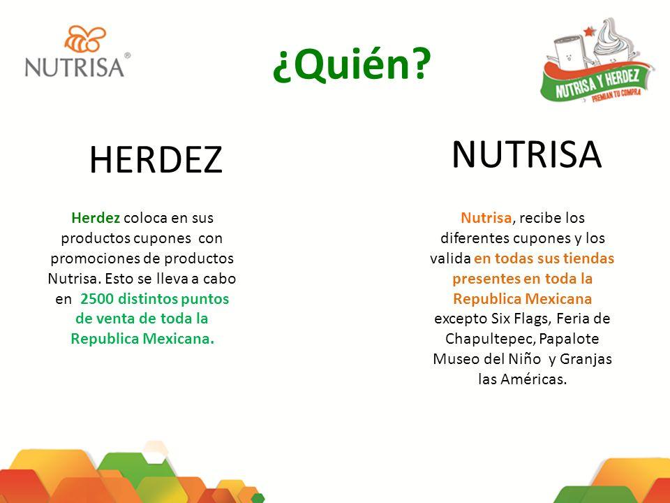 ¿Quién? HERDEZ NUTRISA Herdez coloca en sus productos cupones con promociones de productos Nutrisa. Esto se lleva a cabo en 2500 distintos puntos de v