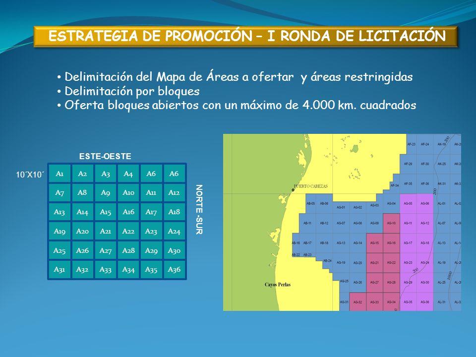 ESTRATEGIA DE PROMOCIÓN – I RONDA DE LICITACIÓN Delimitación del Mapa de Áreas a ofertar y áreas restringidas Delimitación por bloques Oferta bloques